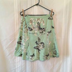 Ann Taylor LOFT Sz 6P A-line Butterfly Skirt Green